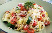Golden Ribbons Pasta with Zucchini and Tomato