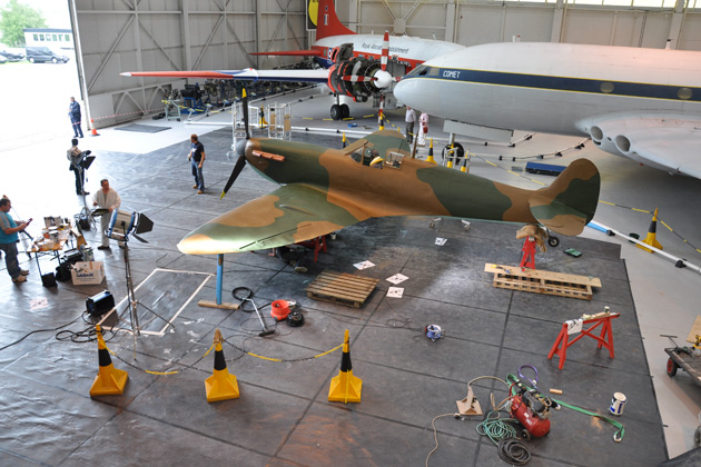 A giant Airfix model Spitfire is created.
