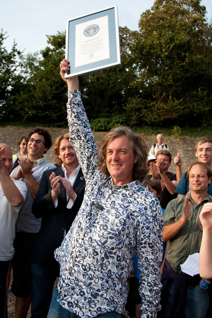 James May celebrates in the Scalextric model cars episode.