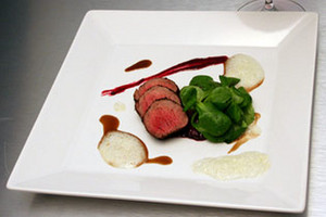 Wild Boar Tenderloin, Black Berry Conserve, Blue Cheese Emulsion & Mache