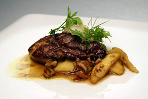 Foie Gras with Caramelized Apples & Toasted Pecans, Brandy-Caramel Sauce