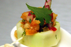 Cucumber Cup with Spiced Shrimp & Cashew