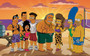 Homer and Marge on the beach in 'Real Housewives - Fat Tony'