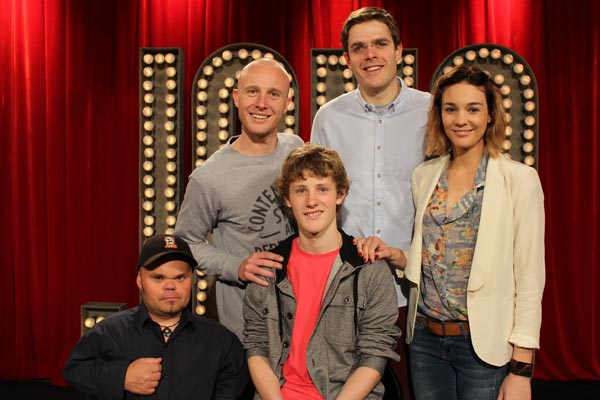 Xtra Factor Winner - Cameron Eade on set with the cast