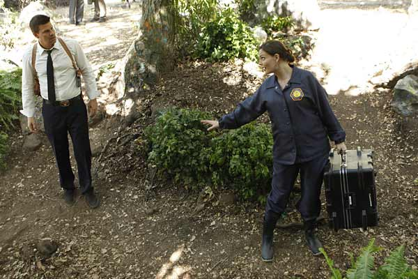 """Special Agent Seeley Booth (David Boreanaz) and Dr. Temperance 'Bones' Brennan (Emily Deschanel) in """"The Memories in the Shallow Grave."""""""