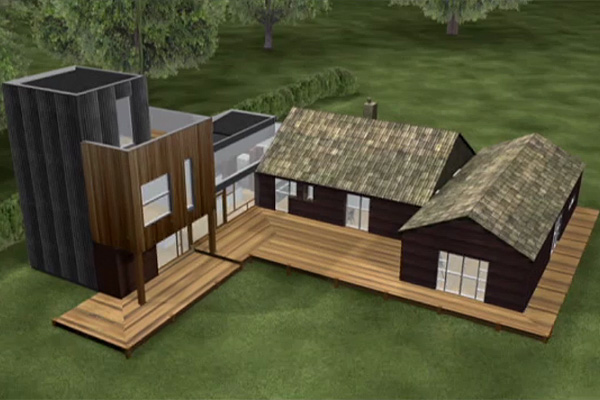 Plans to extend the existing bungalow four times bigger while still blending it into the surrounding woodlands.