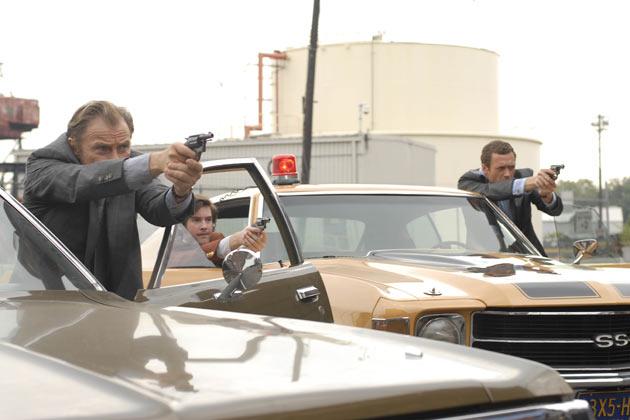 (L-R): Lieutenant Gene Hunt (Harvey Keitel), Detective Chris Skelton (Jonathan Murphy) and Sam Tyler (Jason O'Mara).