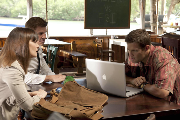 """(L-R): Dr. Temperance 'Bones' Brennan (Emily Deschanel), Special Agent Seeley Booth (David Boreanaz) and Walter Sherman (George Stults) in """"The Finder""""."""