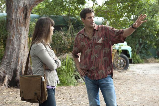 "(L-R): Dr. Temperance 'Bones' Brennan (Emily Deschanel) and Walter Sherman (George Stults) in ""The Finder""."