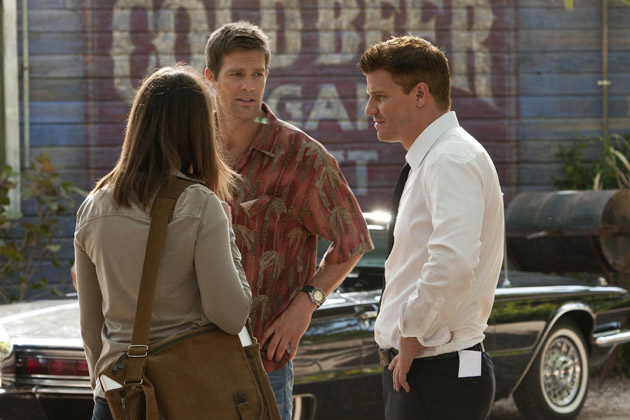 """(L-R): Dr. Temperance 'Bones' Brennan (Emily Deschanel), Walter Sherman (George Stults) and Special Agent Seeley Booth (David Boreanaz) in """"The Finder""""."""