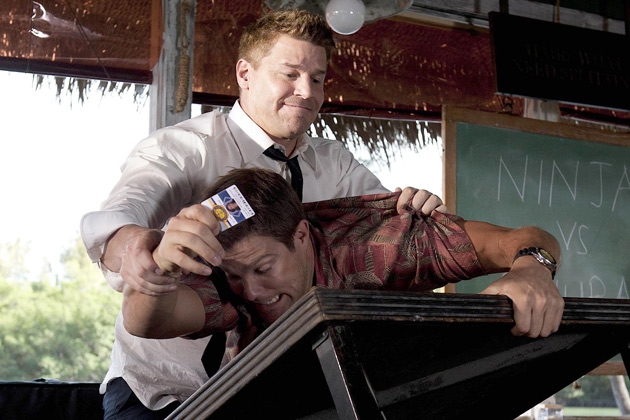"""(L-R): Walter Sherman (George Stults) and Special Agent Seeley Booth (David Boreanaz) in """"The Finder""""."""