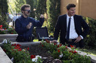 "(L-R): Dr. Jack Hodgins (T.J. Thyne) and Special Agent Seeley Booth (David Boreanaz) in ""The Pinocchio In The Planter""."