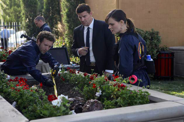 "(L-R): Dr. Jack Hodgins (T.J. Thyne), Special Agent Seeley Booth (David Boreanaz) and Dr. Temperance 'Bones' Brennan (Emily Deschanel) in ""The Pinocchio In The Planter""."