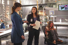 "(L-R): Dr. Temperance 'Bones' Brennan (Emily Deschanel), Grace Meacham (Michele Gardner) and Jane Doe (McKenzie Applegate) in ""The Signs In The Silence""."