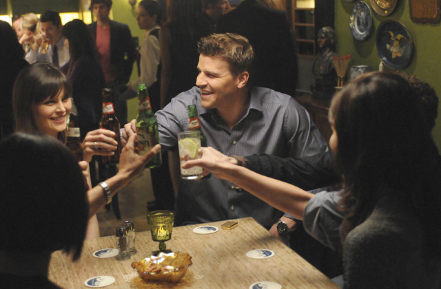 "(L-R): Dr. Temperance 'Bones' Brennan (Emily Deschanel) and Special Agent Seeley Booth (David Boreanaz) in ""The Truth In The Myth""."