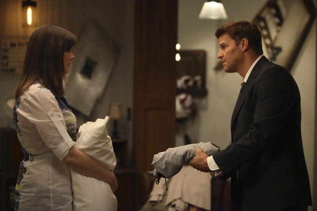 """(L-R): Dr. Temperance 'Bones' Brennan (Emily Dechanel) and Special Agent Seeley Booth (David Boreanaz) in """"The Hole In The Heart""""."""