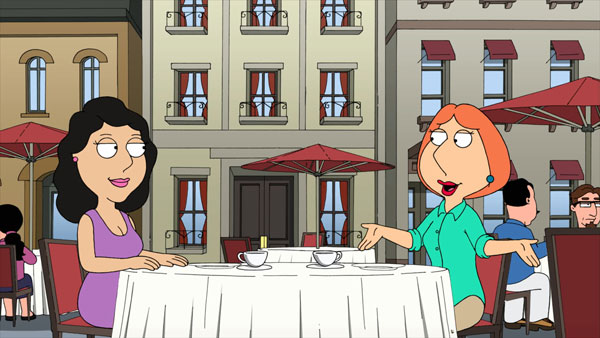 Bonnie and Lois have coffee in Paris.