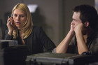 "Carrie Mathison (Claire Danes) and Peter Quinn (Rupert Friend) in ""New Car Smell."""
