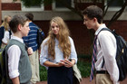 "Chris Brody (Jackson Pace), Dana Brody (Morgan Saylor) and Finn Walden (Timothee Chalamet) in ""Q&A."""