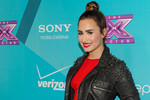 Demi walks the press line at the X Factor Top 12 party in Hollywood.