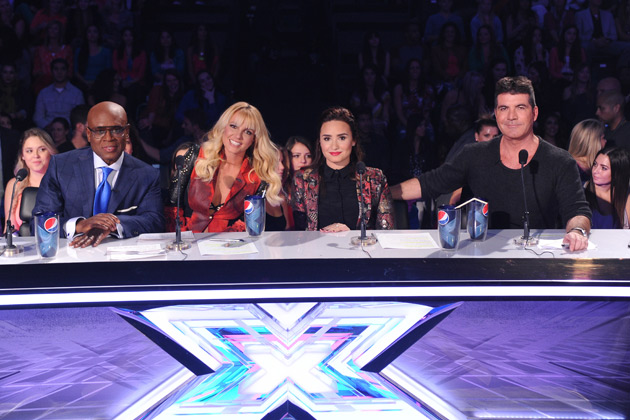 Ready, set, judge! L.A. Reid, Britney Spears, Demi Lovato, and Simon Cowell.