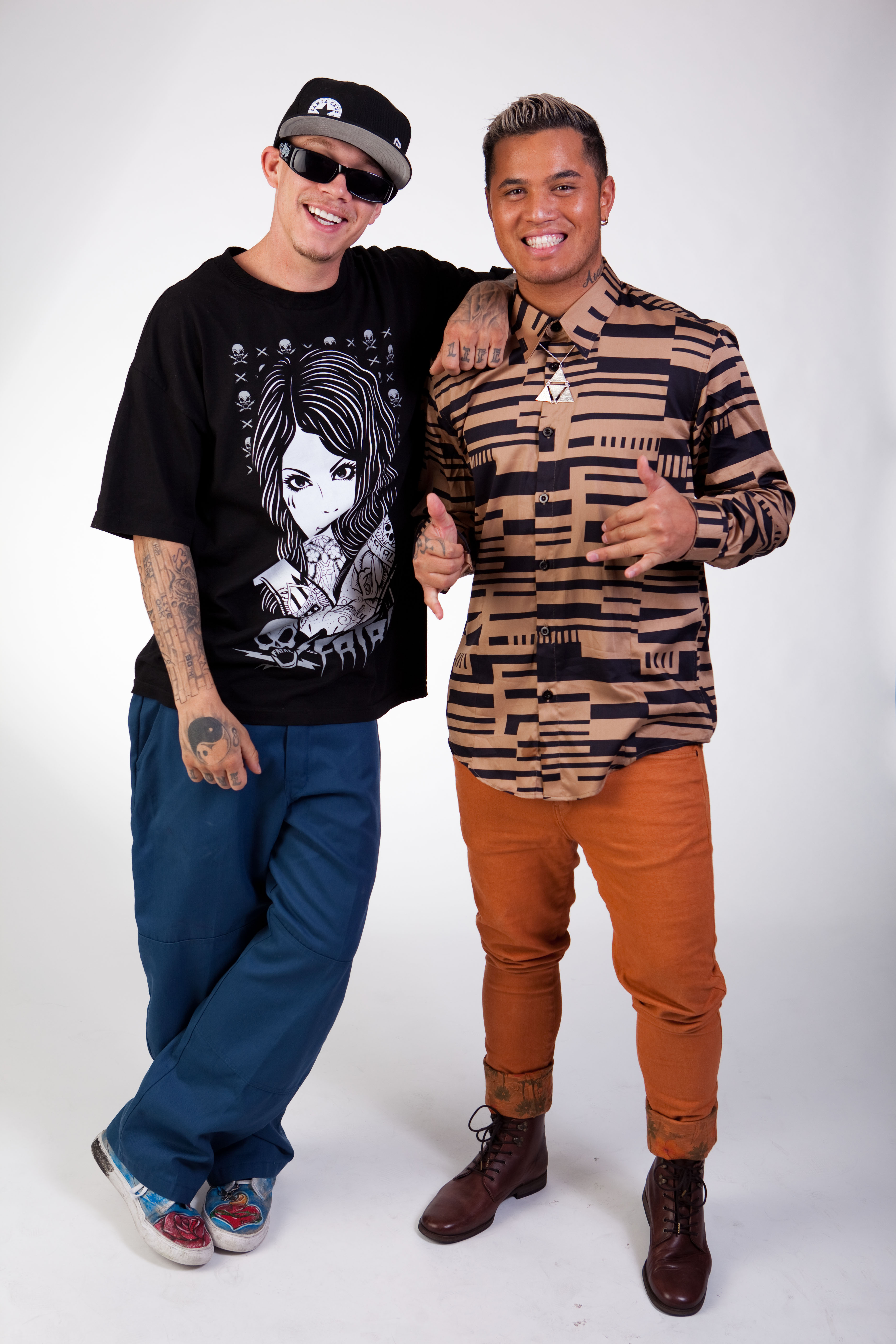 Stan Walker hanging out with Chris Rene at New Season Launch