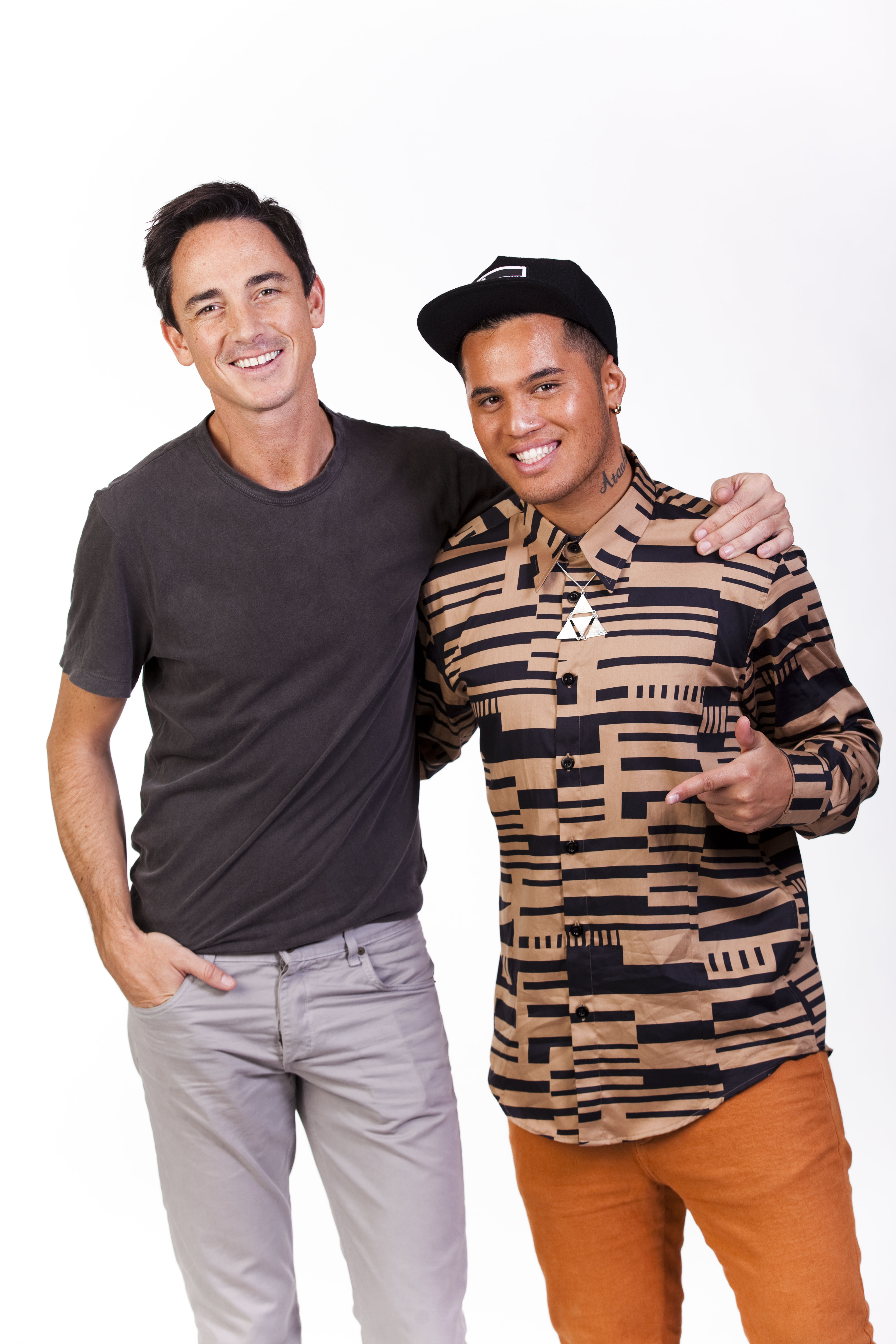 The X Factor NZ host, Dominic Bowden, and judge, Stan Walker.
