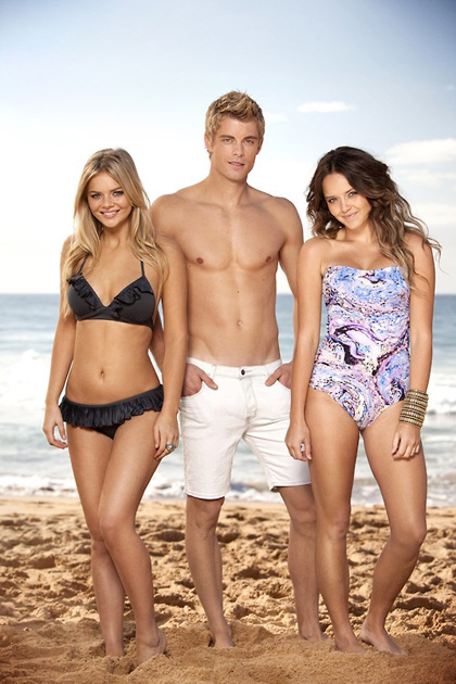 Luke mitchell, Samara Weaving and real-life fiance Rebecca Breeds