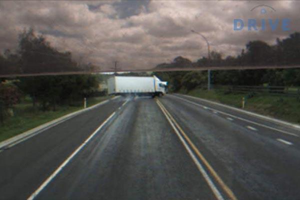 A truck in a skid