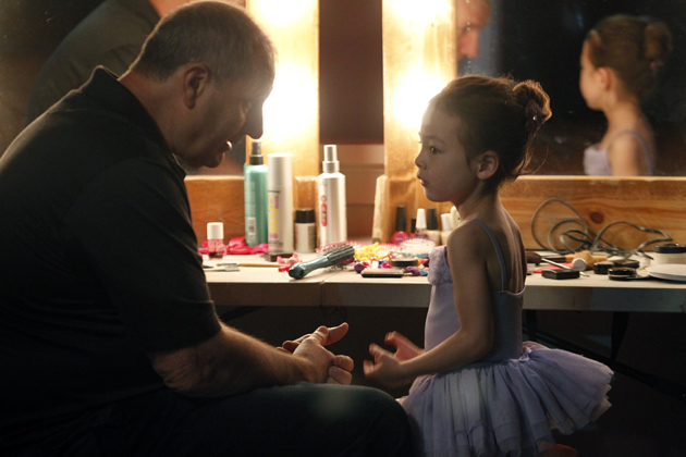 Jay gives Lilly a pep talk before her ballet recital.