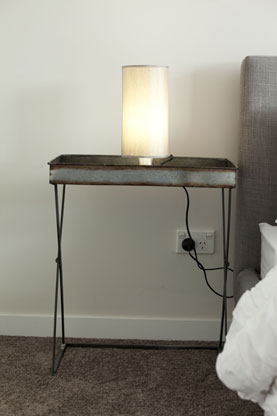The bedside table, now placed the correct way around