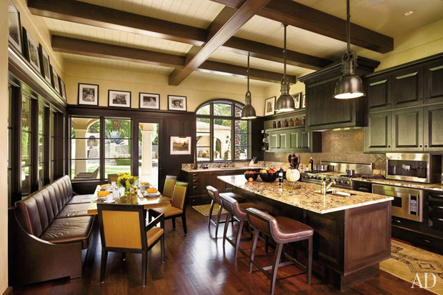 Lance Armstrong Spanish Colonial kitchen