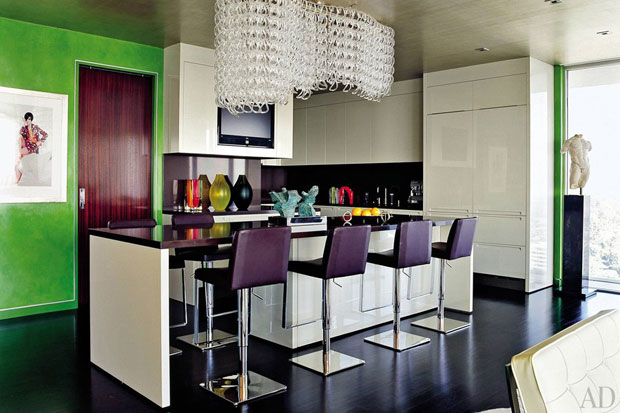 Elton John and David Furnish's modern chic kitchen