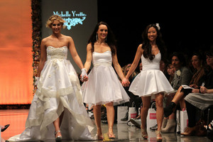 Jaime Ridge models Michelle Yvette gown in the NZ Weddings show at NZFW