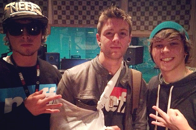 Drew, Wes and and Keaton in the studio recording their debut album