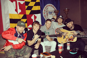 Emblem3 in the stuido with Joel and Benji Madden