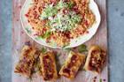 Crackin' Crab Briks, Couscous Salad & Salsa