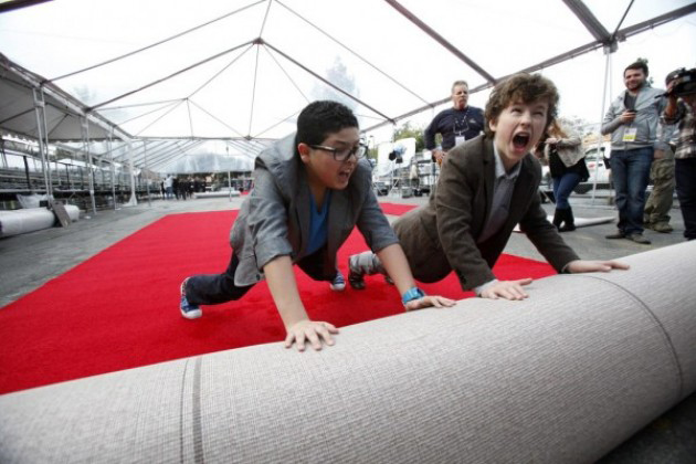 Rico Rodriguez and Nolan Gould roll out the red carpet in preparation for the 19th annual Screen Actors Guild Awards