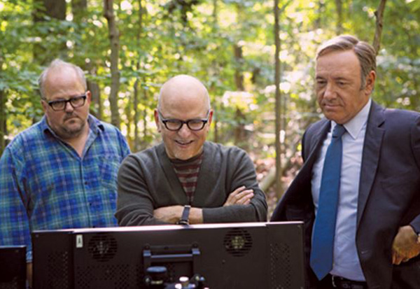 Alan Coulter (center) reviews a shot with series star Kevin Spacey and DP Tim Ives.