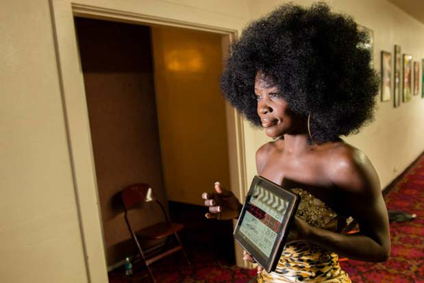 Ageless beauty, Lillie McCloud, filmed an interview back stage at the Shrine Auditorium before taking the stage to compete in the Four Chair Challenge.