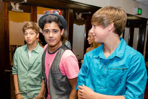 The group known as Forever In Your Mind show off their best teen heartthrob looks during the Four Chair Challenge.