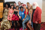 Kelly Rowland's Over 25s pose with an X FACTOR crew member backstage at the Shrine.