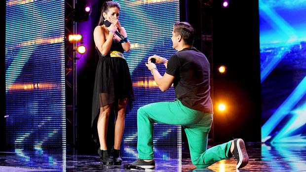 X FACTOR contestants David Grey and Lauren Waguespack got engaged at auditions!