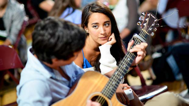 Alex and Sierra spend their time practicing their music.