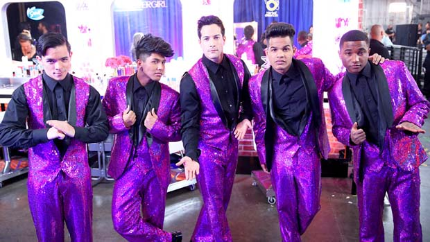 These backup dancers are a vision in purple!