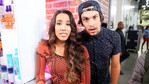 Alex and Sierra hanging out backstage before the show