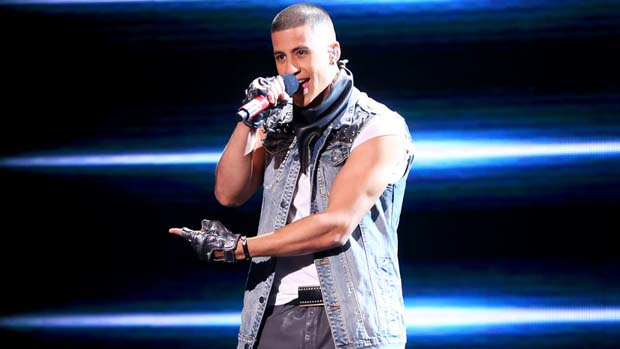 "Carlito Olivero took the stage with four versions of himself for ""(I Can't Get No) Satisfaction."""