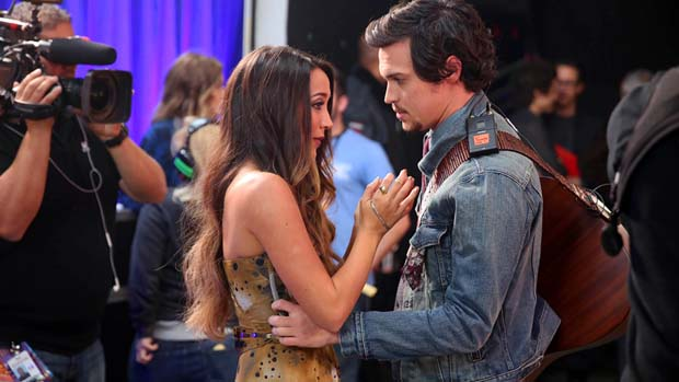 Alex & Sierra found a moment of calm in the midst of all the activity backstage.