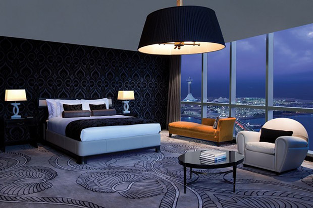 The room includes Audi A6 airport pickup, Hermes toiletries and incredible views across the city.