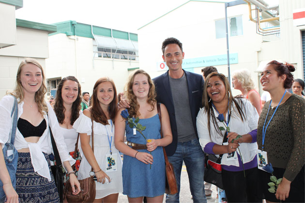 Surrounded by lovely ladies at The X Factor auditions in Auckland